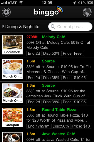binggo Deals Discounts Offers and Coupons. Groupon, Living Social, Restaurants and others in 1 app. Bingo !