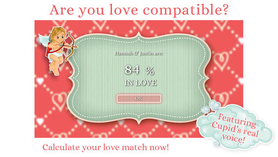 Cupid's Love Calculator and Love Test - check your love compatibility and love match for Valentine 2014 love