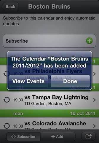 HockeyCals 2011/2012 - Add all games including live scores of your favorite Hockey team(s) to your Calendar