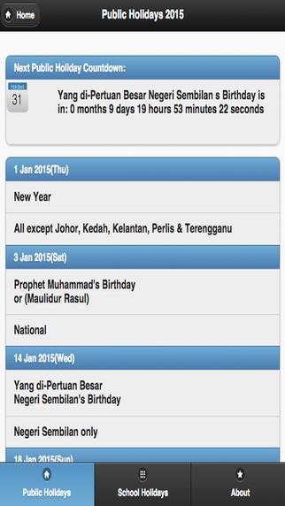 Malaysia Calendar 2015 holidays 2016