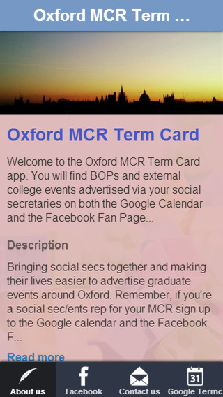 Oxford MCR Term Card teenagers mcr