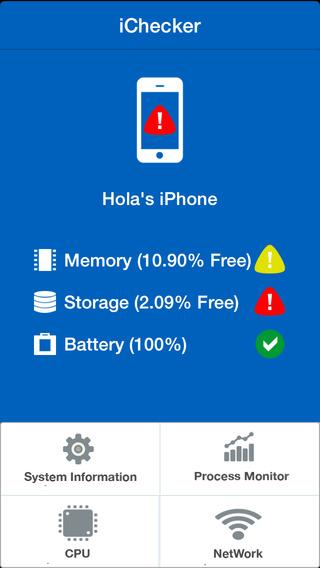 iChecker (Memory, network, storage, battery, cpu, process...) network storage adapter