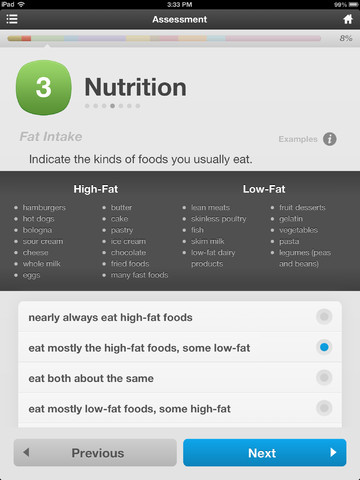 personal health asssesment Shop, eat, move (this assessment may be used for either fitness or health - not both) compare nutritional labels, identify positive and negative nutritional components, and identify additional foods that would compensate a healthy meal.