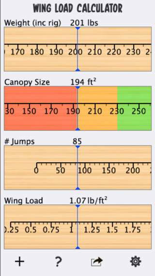 Skydive Wingload Calculator triple canopy