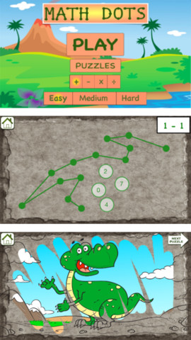 Math Dots(Dinosaur): Connect To The Dot Puzzle / Kids Flashcard Drills for Adding & Subtracting