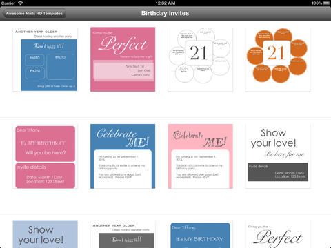 ... Birthday Invitations - Templates for the Awesome Mails HD App iPad iOS