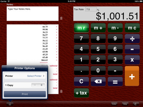 Printing Tape Calculator for iPad printing from ipad
