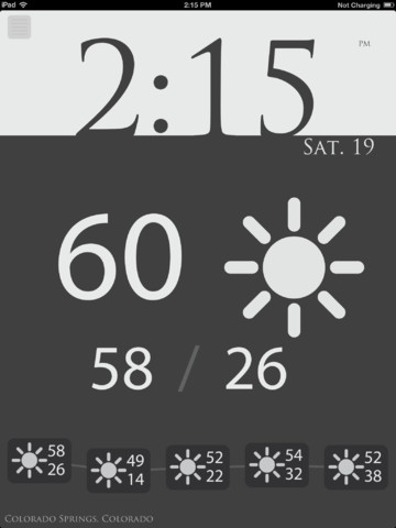 Now: Elegant clock and weather