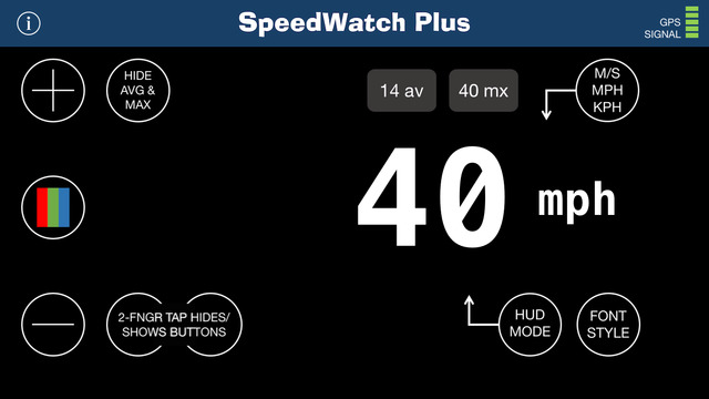 Speed Watch Plus - a Speedometer and HUD for iPhone, iPad & Watch smartphone watch