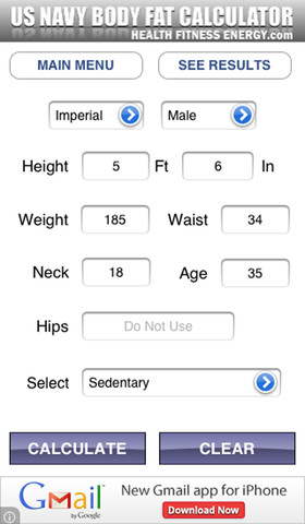body fat percentage us navy method