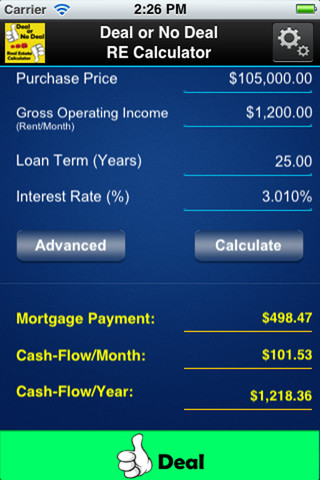 Deal or No Deal RE Investment Calculator