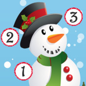 Christmas counting game for children: Learn to count the numbers 1-10 with Santa for Christmas christmas stars