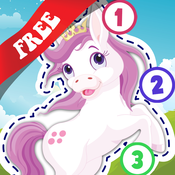 Free Kids Ponies Puzzle Teach me Tracing & Counting - Learn about pink ponies, cute fairies and princesses