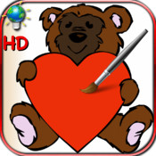 Coloring book for Valentine`s Day with doves, hearts and angels - For iPhone and iPod