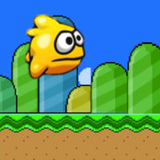 Blue Tiny Flyer Bird in Flappy City: An Impossible Flying Wing Journey through Pipe Tunnel