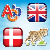 Danish - English Voice Flash Cards Of Animals And Tools For Small Children