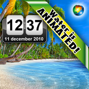 Tropical Beach Animated Clock LITE