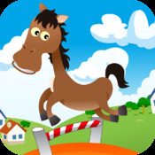 Action Horse FREE - Save it with a finger to jump and jump in the farm.