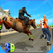Police Horse Crime City Chase - Clean City from robbers and criminals set free in town