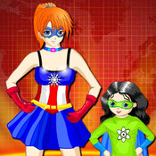 Super Mom and Her Child Dress up