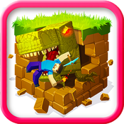 T-REX CRAFT ( EATS STUDENTS ): Survival Hunter Block Mini Game with Multiplayer block mobile