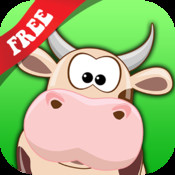 Free teach me Farm Animals Cartoon: learn that the cow sleeps in the barnyard, the chicken lays eggs and the piggy loves mud