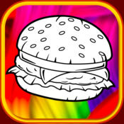 fast food hamburger and family restaurant court coloring book kid mountain shape